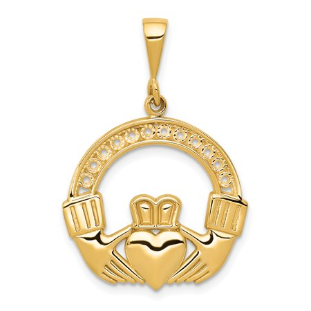 14k Yellow Gold Irish Claddagh Celtic Knot Pendant Charm Necklace Fine Jewelry For Women Gift Set