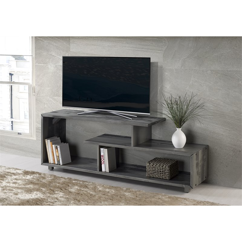 60 Inch Rustic Solid Wood Tv Stand Console In Grey Walmart Com