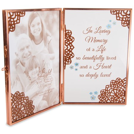 Pavilion - In Loving Memory of a Life so Beautifully Lived and a Heart so Deeply Loved - Clear Glass and Metal Copper Folding 4x6 Picture - Field Pictures