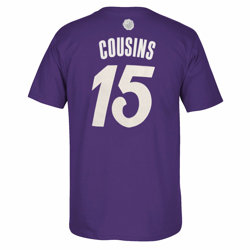 DeMarcus Cousins Sacramento Kings NBA Adidas Purple 2016 Christmas Day Player Name & Number Jersey T-Shirt For Men (S)