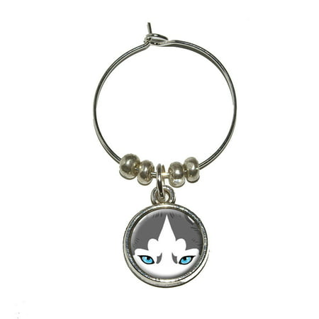 Siberian Husky Face - Dog Pet Wine Glass Charm (Huskies Art Glass)