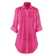 Women's Button Down, Collared, Roll Sleeve Tunic Top, Large, Fuchsia