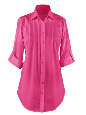 e9ca492dd21 Product Image Women's Button Down, Collared, Roll Sleeve Tunic Top, Large,  Fuchsia