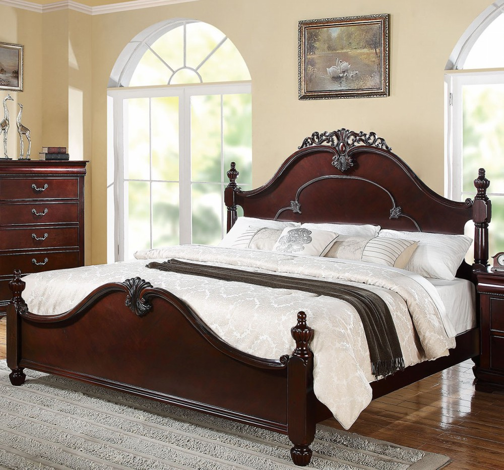 1PerfectChoice Gwyneth Traditional Cherry King Poster Bed by 1PerfectChoice
