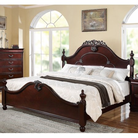 1Perfectchoice Gwyneth Traditional Cherry King Poster Bed