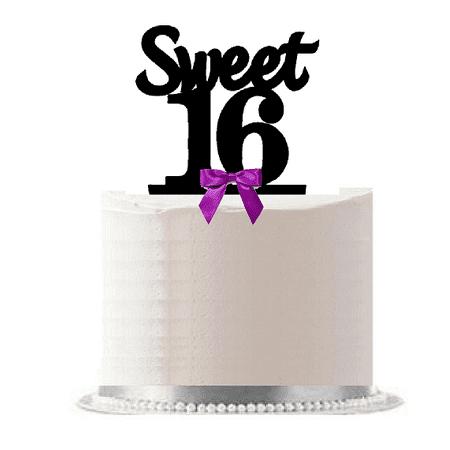 16th Birthday Cake Ideas (Sweet 16 (16th Birthday) Purple Bow Elegant Cake Decoration Cake)