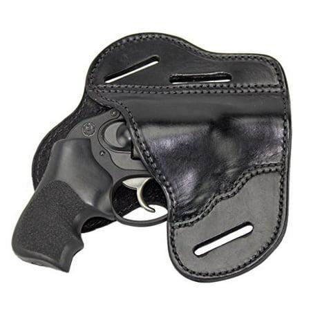 The Ultimate Leather Gun Holster - 3 Slot Pancake Style Belt Holster  -Handmade in the USA! - Fits J Frame / Revolver Style Handguns - Black  Right