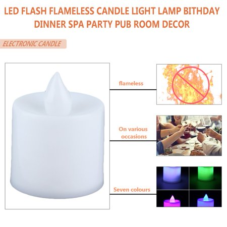 Superior Romance LED Flash Flameless Candle Light Lamp for Birthday Dinner Spa Party Pub Room Decoration - image 3 of 7