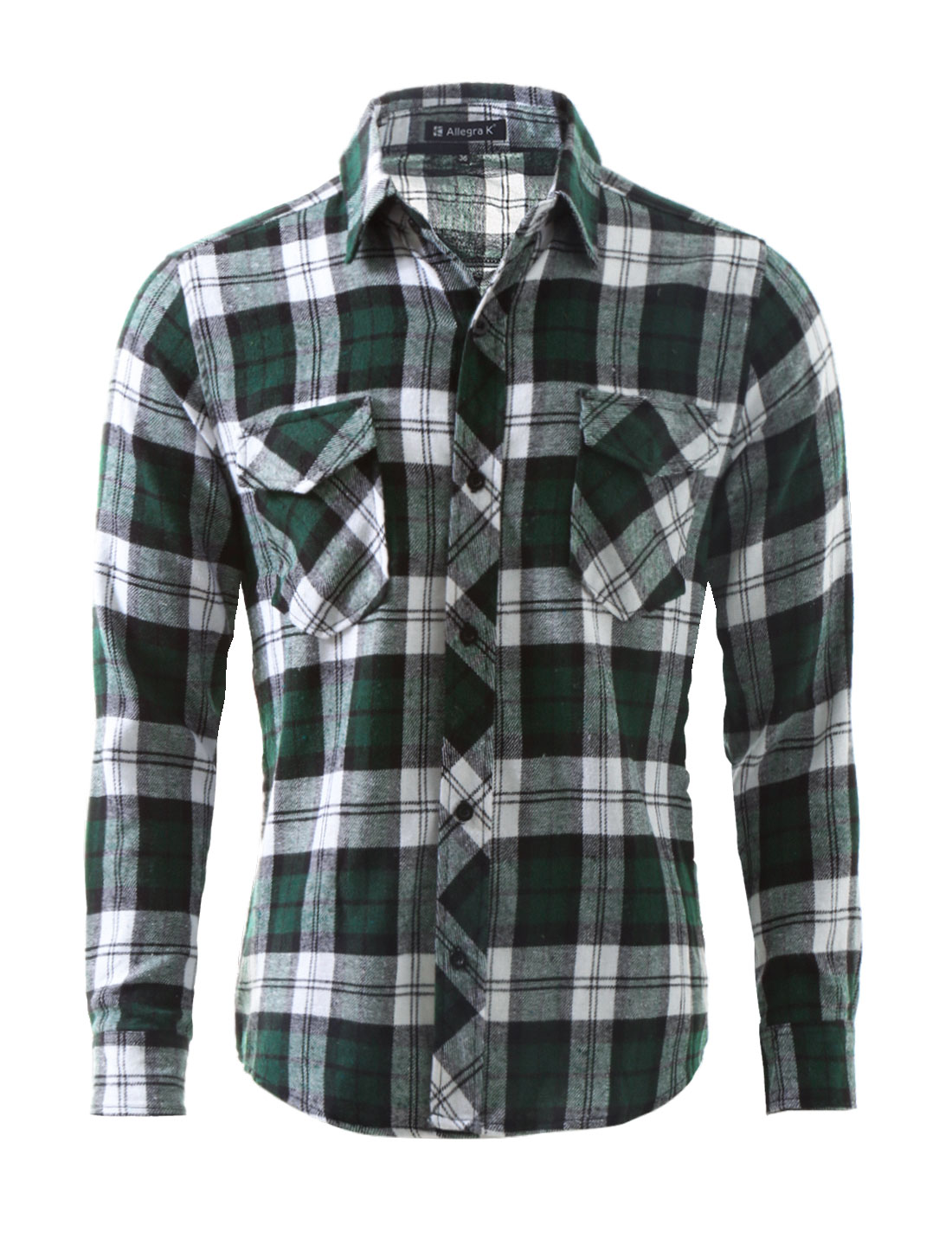 Unique Bargains Men S Button Up Plaid Flannel Shirt Green Size L