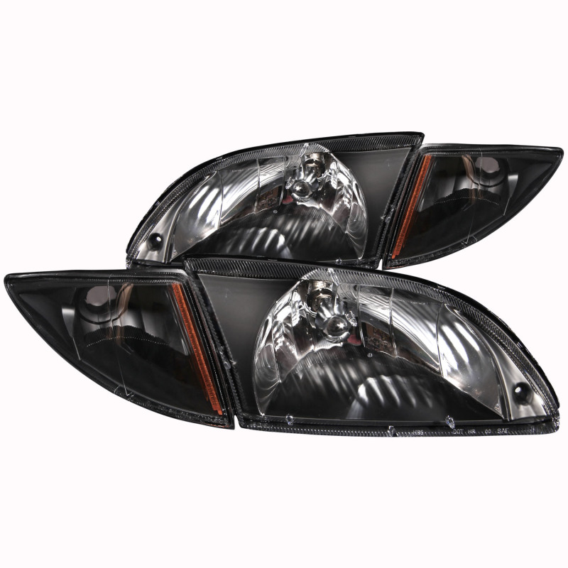 ANZO 2000-2002 Chevrolet Cavalier Crystal Headlights Black