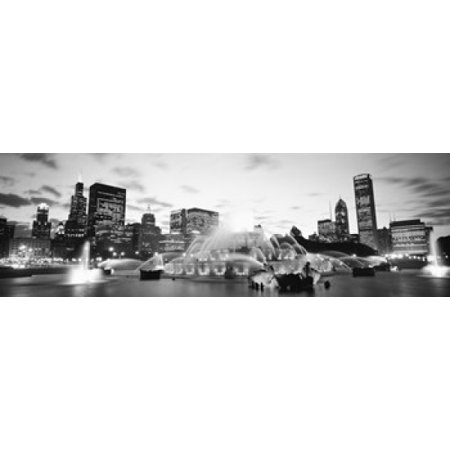 Buckingham Fountain Grant Park Chicago Illinois USA Canvas Art - Panoramic Images (36 x (Chicago Buckingham Fountain)