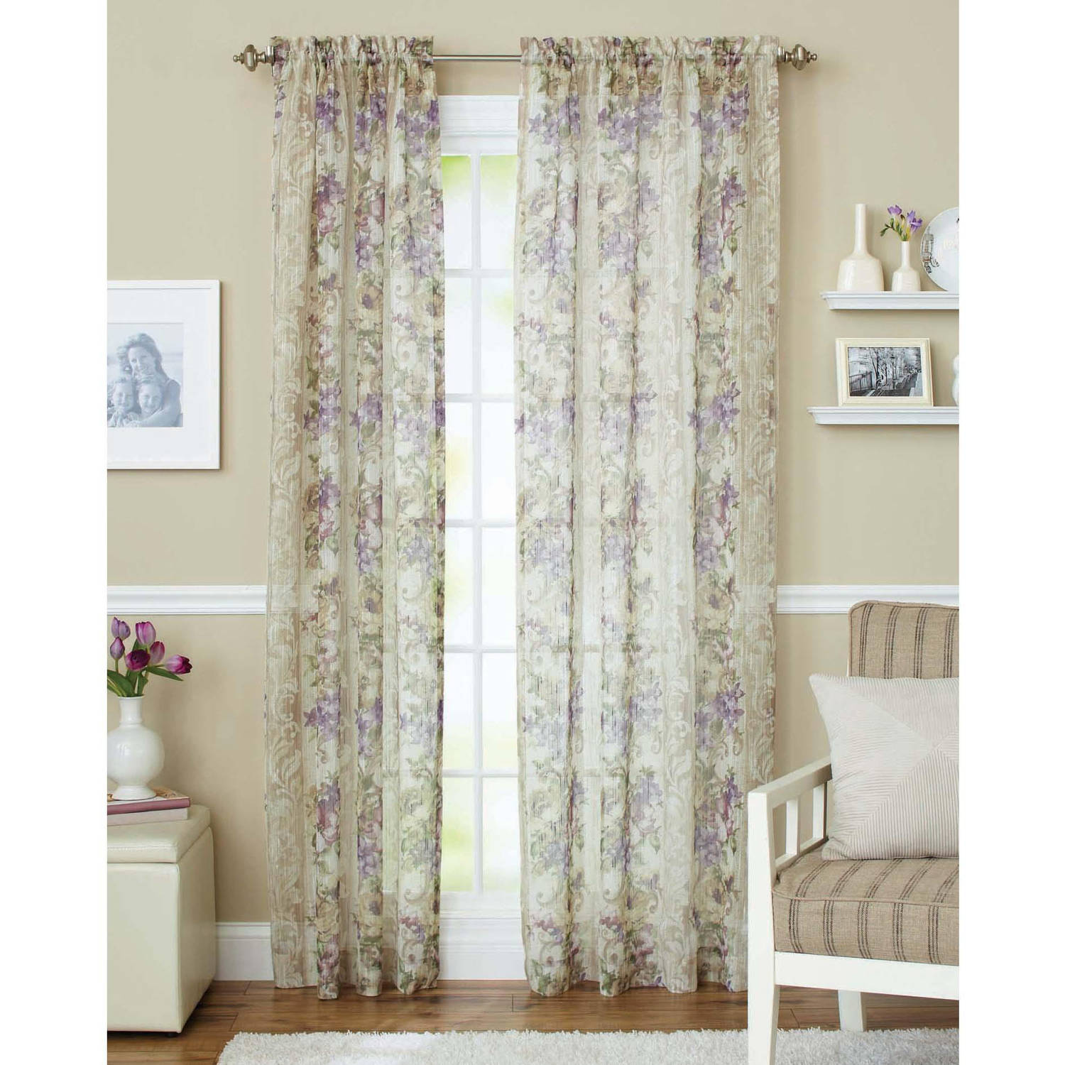 Attirant Better Homes And Gardens Roses Sheer Curtain Panel   Walmart.com