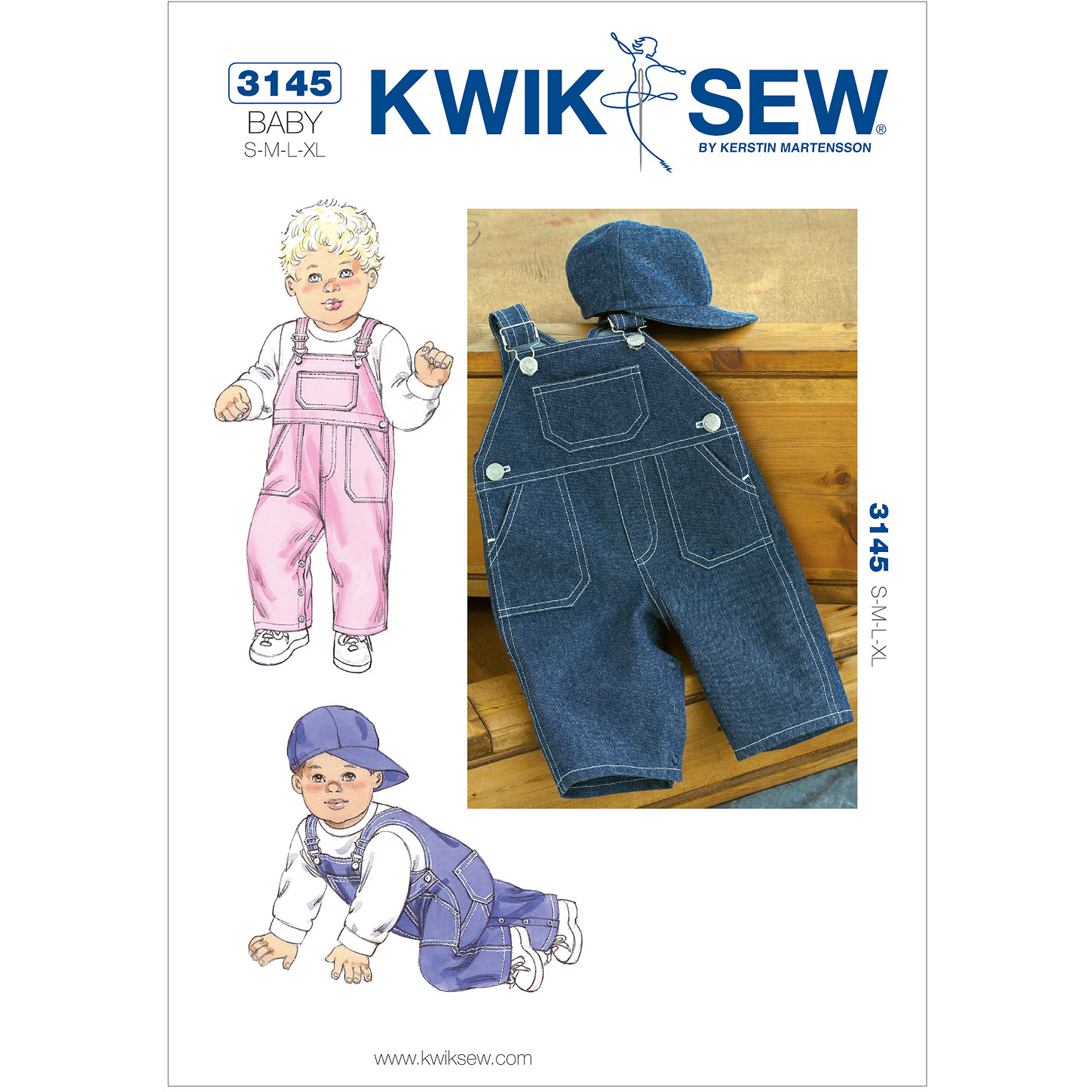 Kwik Sew Pattern Overalls and Hat, (S, M, L, XL)