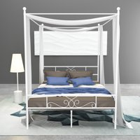Teraves 4 Post Metal Canopy Twin Bed Frame w/ Heart Scroll Design, Slats, Headboard, and Footboard - White