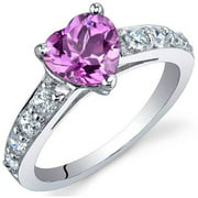 1.5 ct Heart Shape Pink Created Sapphire Ring in Sterling Silver
