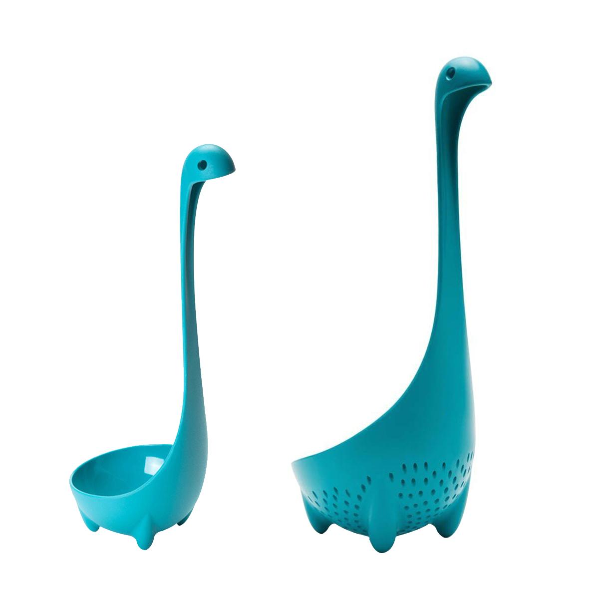 Creative Kitchen Loch Ness Monster Ladles Mamma Nessie Strainer Colander Spoon (Blue) by