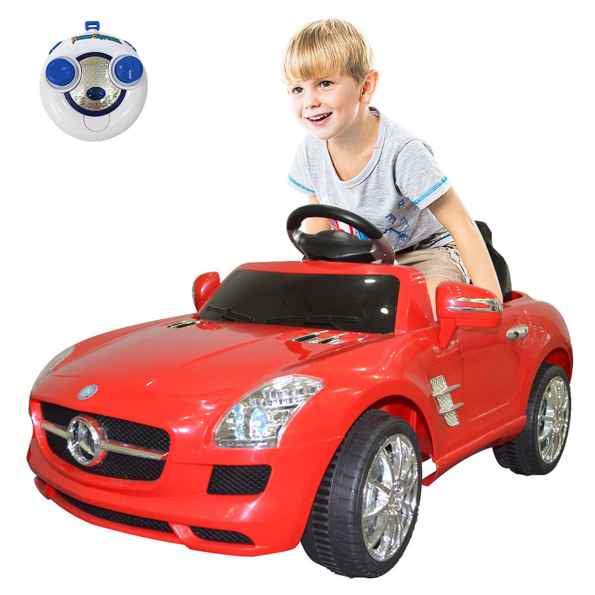 Goplus red mercedes benz sls r/c mp3 kids ride on car electric battery toy