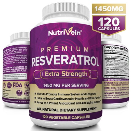 Nutrivein Resveratrol 1450mg - Anti Aging Antioxidant Supplement 120 Capsules - Promotes Immune, Cardiovascular Health and Blood Sugar Support - Made with Trans-Resveratrol, Green Tea Leaf, Acai