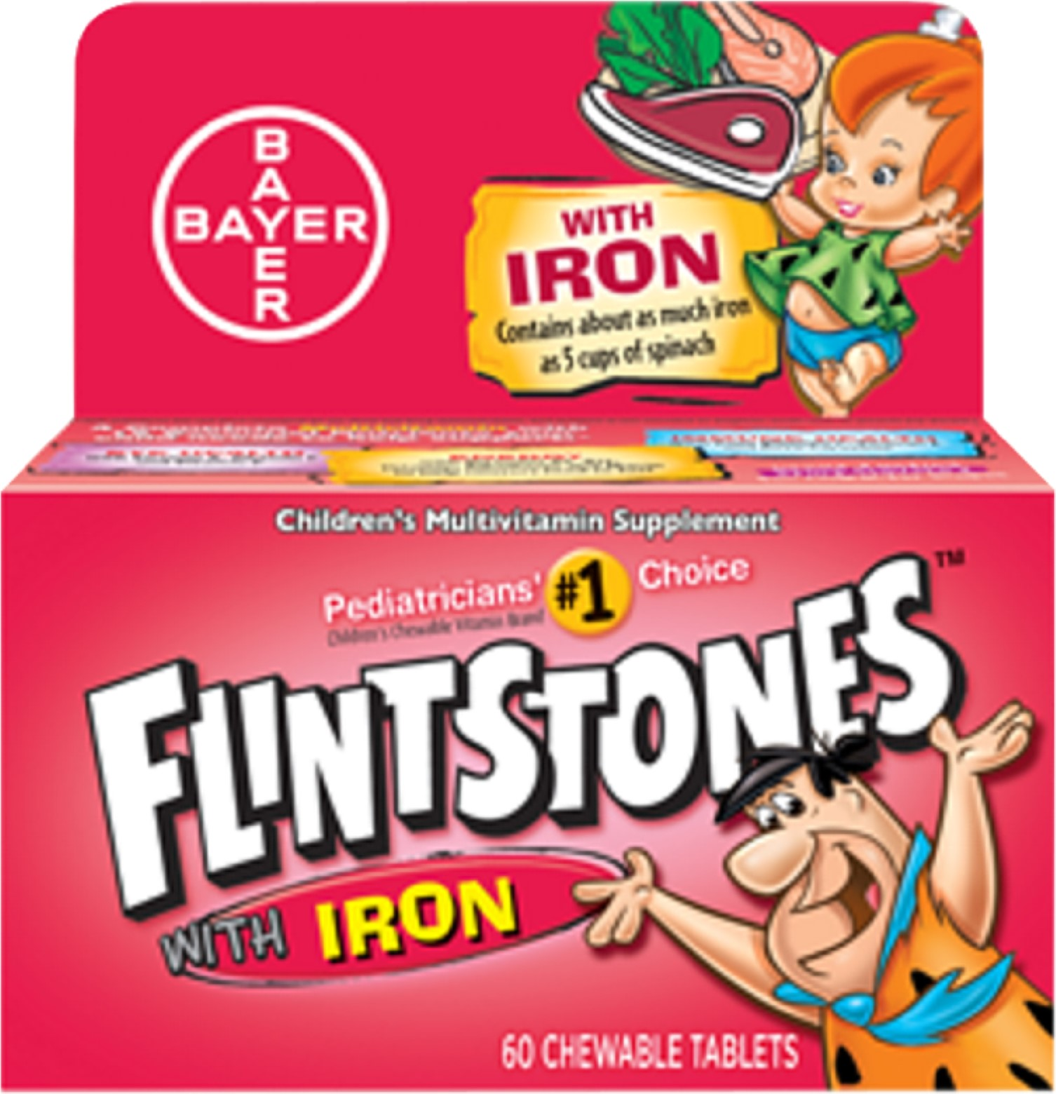 Flintstones Chewable Tablets With Iron 60 Tablets (Pack of 2)
