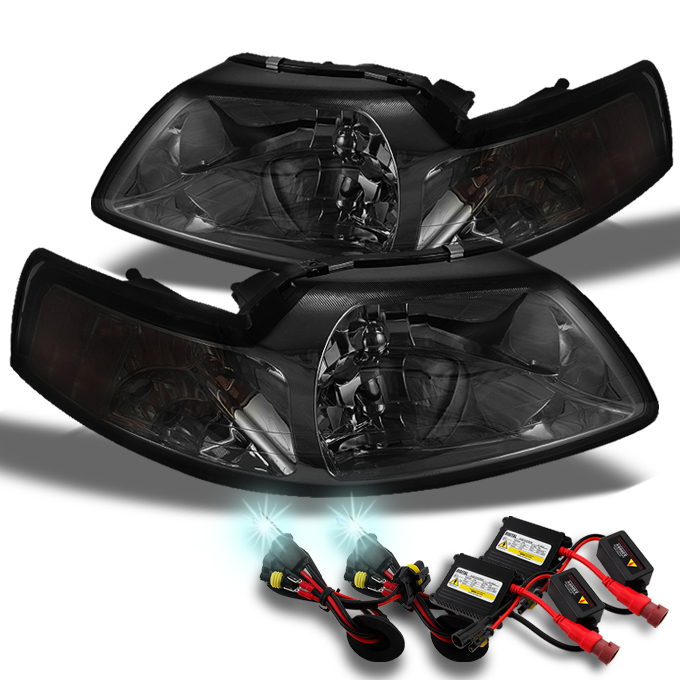 Fits 99-04 Mustang Amber Smoked Smoke Headlights Lamps + Slim Ballast 8K HID Kit