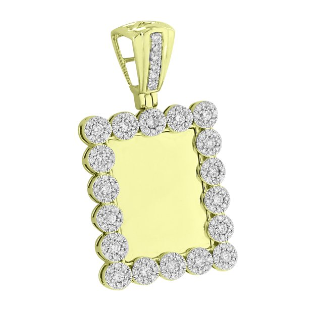 Cluster Flower Bezel Pendant 10K Yellow Gold 1.94 CT Genuine Diamonds Custom