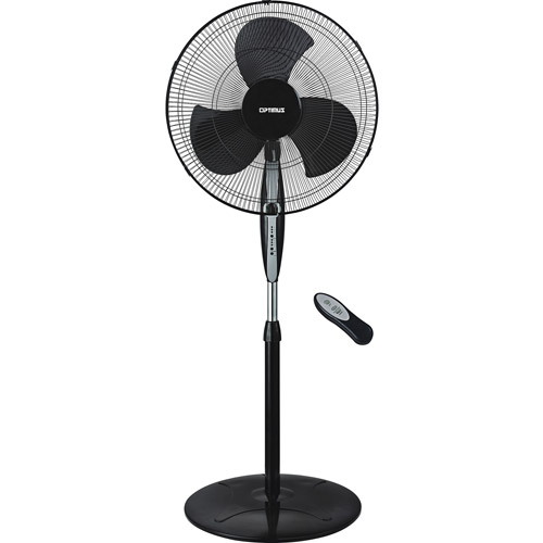 """Optimus 18"""" Black Oscillating Stand Fan with Remote Control"""