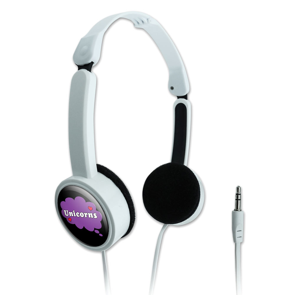 Dreaming of Unicorns Purple Novelty Travel Portable On-Ear Foldable Headphones