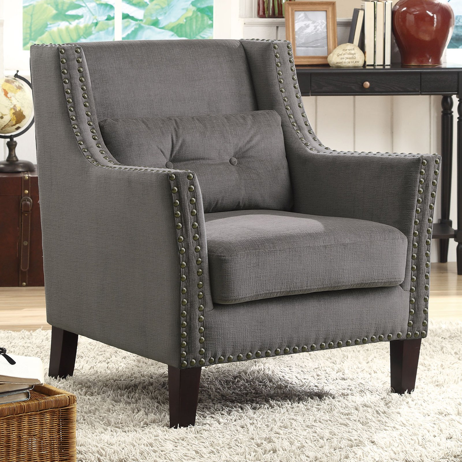 Coaster Company Chenille Accent Chair, Grey by Coaster Company
