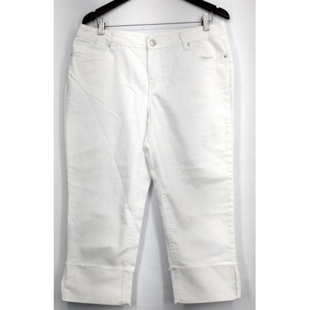 OSO Casuals Jeans Sz 12 Wide Cuff Stretch Denim/Twill Crop White Womens A431103