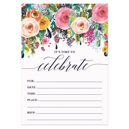 """50 Pack Invitations Colorful Flowers Time to Celebrate Gorgeous Bridal Shower Wedding Woman's Birthday Graduation Bachelorette Retirement Party 5x7"""" Fill-in Invites with Envelopes Digibuddha VI0042"""