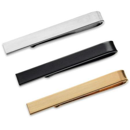 3 Pc Mens Tie Bar Slide Clip Set Skinny Ties 1.5 Inch, Brushed Silver, Black, Gold in Gift Box