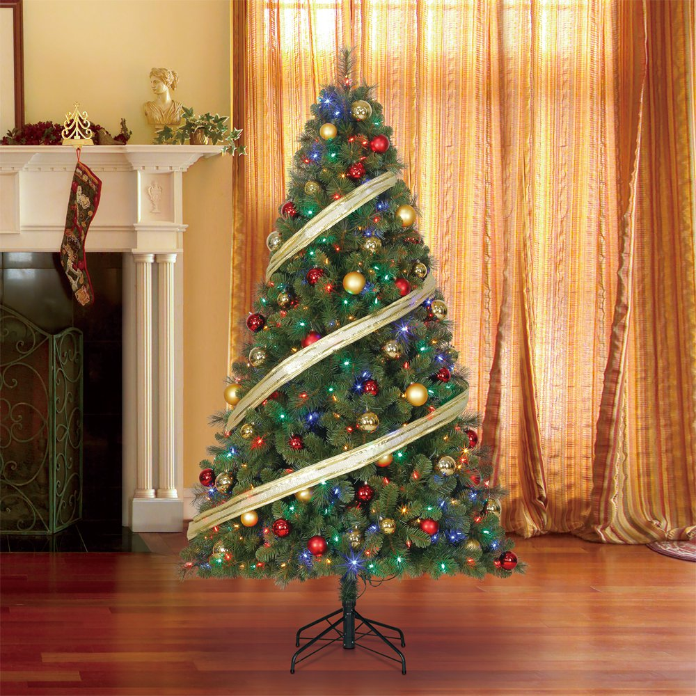 home heritage 9 artificial cascade pine christmas tree w color changing lights walmartcom