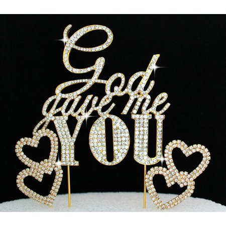 God Gave Me you Crystal Bling Gold Wedding Cake Topper with 2 Hearts Cake Picks
