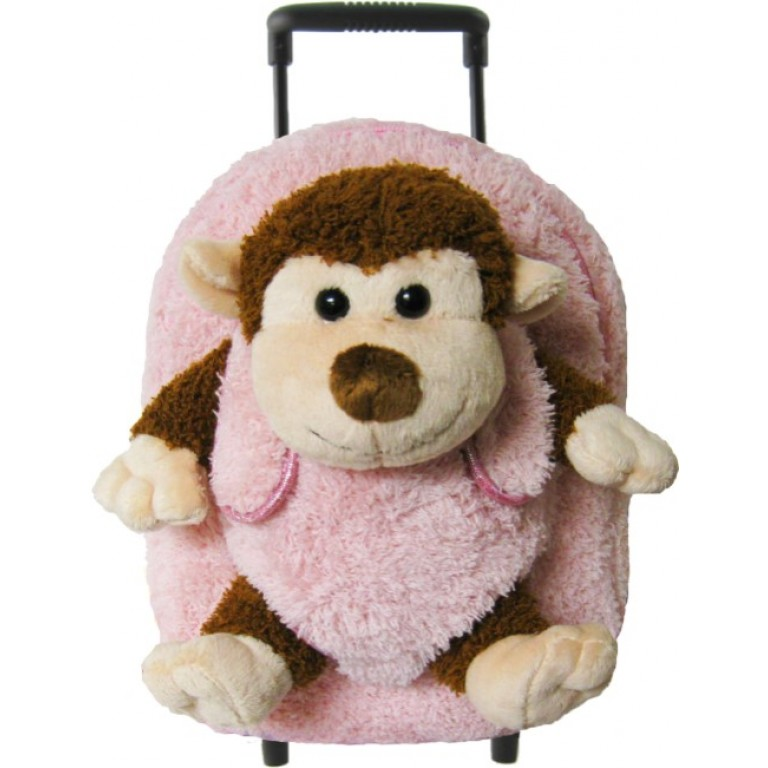 Kids Pink Monkey Animal Plush Luggage Toddlers Roller Backpack