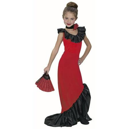 Childs Flamenco Dancer Dress Costume~Small 4-6 / Red