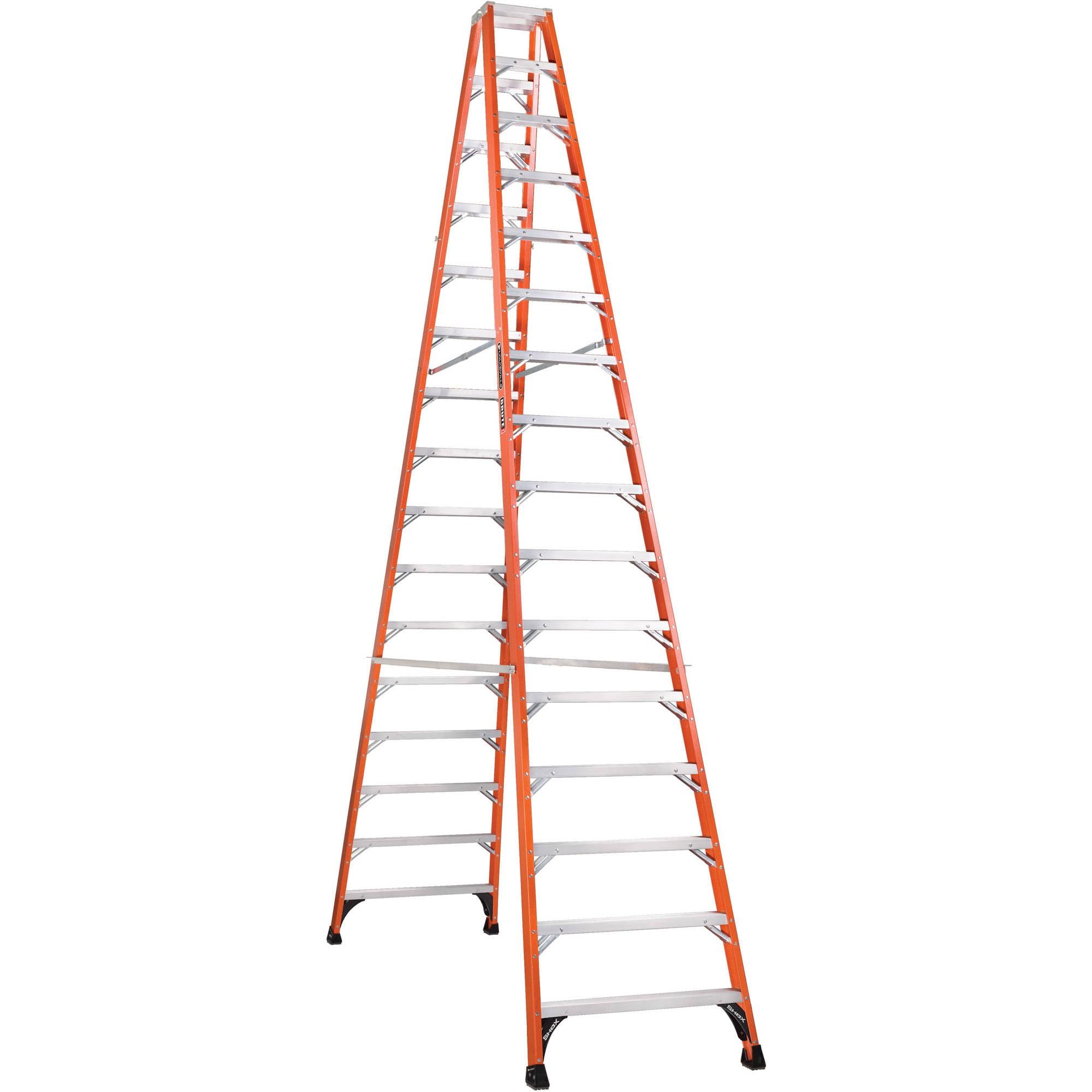 Louisville Ladder FM1416HD 16 ft. Fiberglass Twin Step Ladder, Type IAA, 375 Lbs Load Capacity
