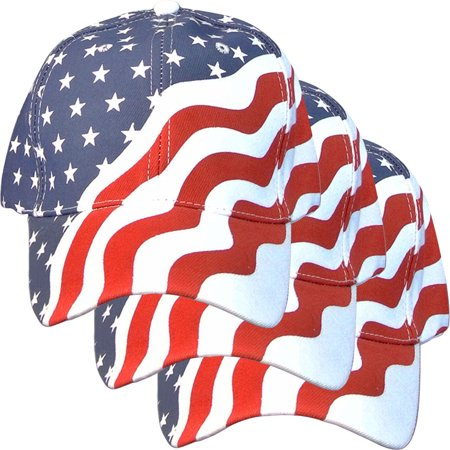 3 Pack - American Flag Ball Cap Hat US USA Patriotic Stars and Stripes Baseball - Patriotic Hat