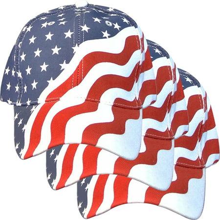 3 Pack - American Flag Ball Cap Hat US USA Patriotic Stars and Stripes Baseball - Patriotic Top Hat