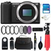 "Sony Alpha a6000 Mirrorless Digital Camera Body (Black) + Pixi Advanced Bundle The black?Sony Alpha a6000 Mirrorless Digital Camera?is a versatile and advanced mirrorless camera featuring a 24.3MP APS-C-sized Exmor APS HD CMOS sensor and BIONZ X image processor to produce high-resolution still images and Full HD movies with marked low-light quality and sensitivity to ISO 25600. Beyond notable imaging traits, the image processor also lends itself to continuous shooting up to 11 fps and an intelligent Fast Hybrid AF system that uses both phase- and contrast-detection methods to quickly and accurately acquire focus.<br><br> <strong>Pixi Advanced Bundle Includes:</strong> <ul><li>I3ePro 32GB SD Card</li><li>Micro-HDMI Cable</li><li>40.5mm 3pc Filter Kit</li><li>40.5 4pc Filter Kit</li><li>Memory Card Wallet</li><li>Card Reader</li><li>Remote Control</li><li>Okto 12"" Tripod</li><li>CC-3 Camera Bag</li><li>Lens Pens</li><li>Dust Blower</li></ul><br>"
