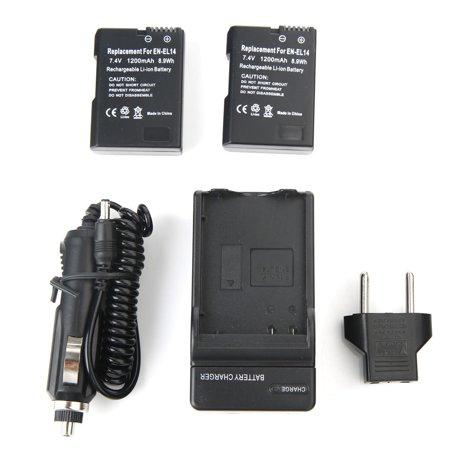 2x 1200mAh Rechargeable EN-EL14 Li-ion Battery + Charger For Nikon EN-EL14A P7000 D5100