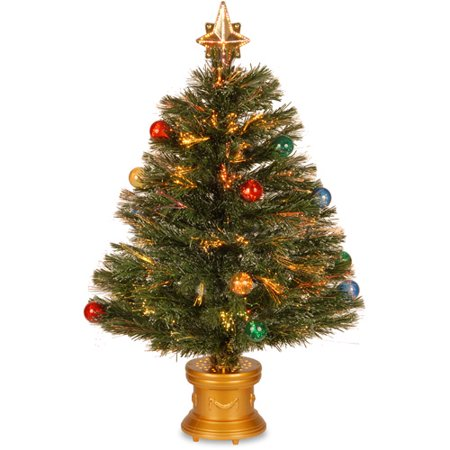 "National Tree Pre-Lit 32"" Fiber Optic Fireworks Red, Green, Blue and Gold Fiber Inner Ornament Artificial Christmas Tree with Top Star"