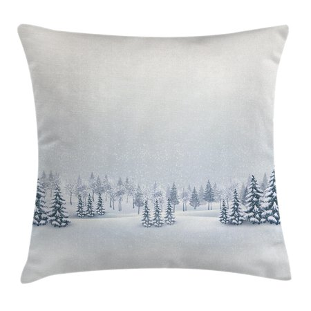 Winter Decorations Throw Pillow Cushion Cover, Winter Scene in a Park with Trees Foggy Blurry Weather Ice Cold Frost Image, Decorative Square Accent Pillow Case, 18 X 18 Inches, White, by