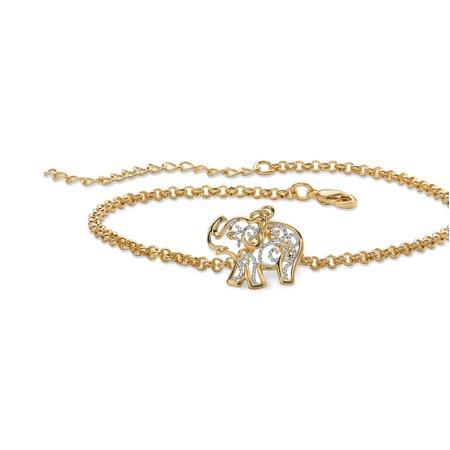 18k Gold-Plated Two-Tone Filigree Elephant Ankle Bracelet Adjustable 9