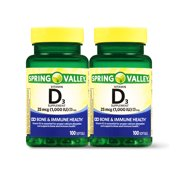 Spring Valley Vitamin D3 Softgels, 1000 IU, 100 Count, 2 Pack