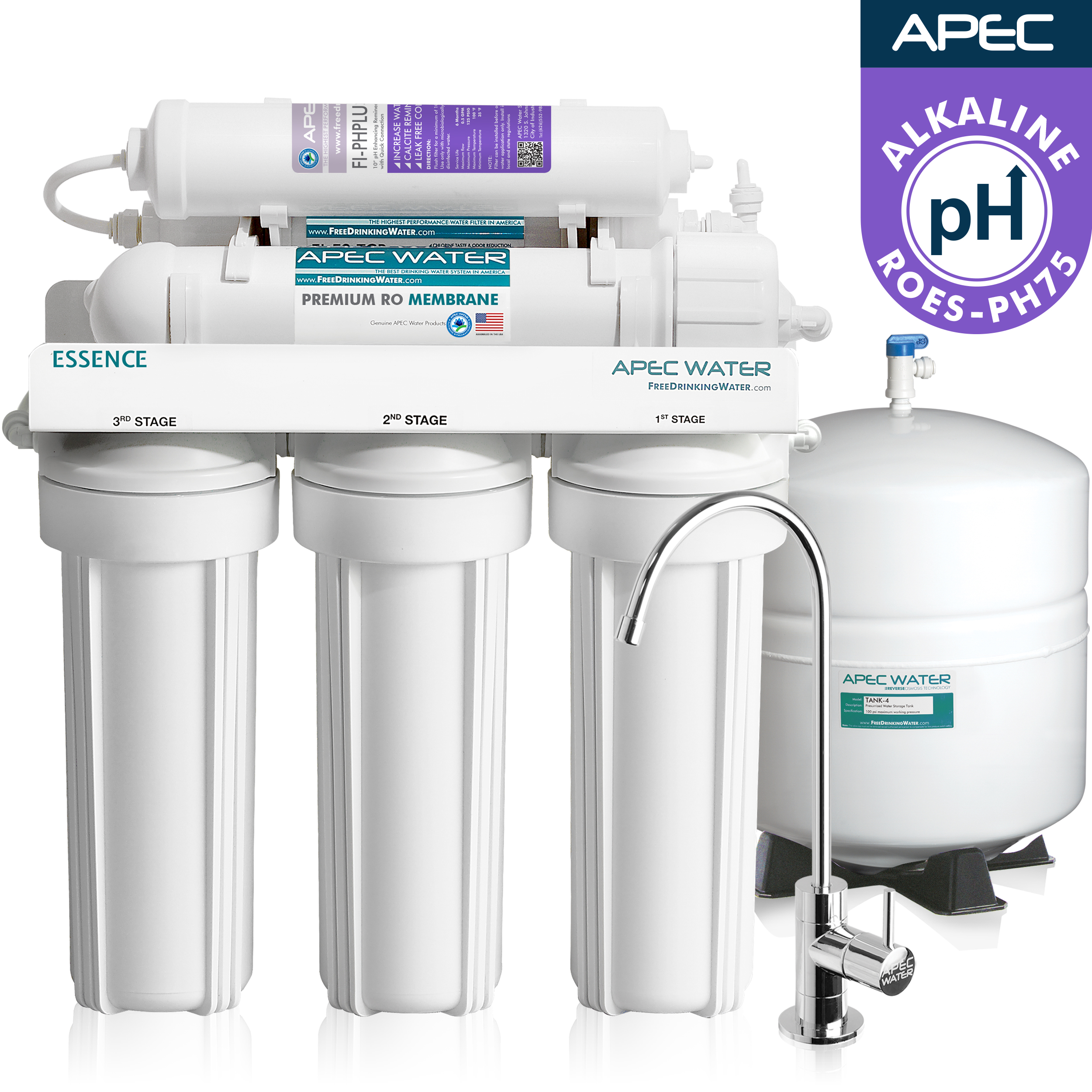 APEC Top Tier Alkaline Mineral Ph+ Ultra Safe Reverse Osmosis Drinking Water Filter System... by