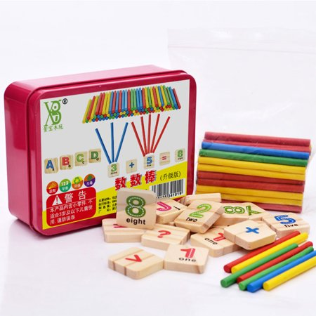 79 Pcs Educational Toys Wooden Mathematical Stick Blocks Set Counting Sticks for Boys and Girls - Counting Blocks