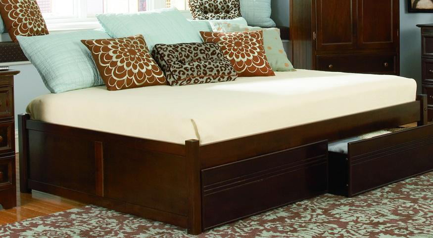 Concord Platform Bed w  Flat Panel Footboard-Color:White,Size:Twin by Atlantic Furniture