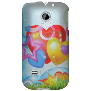 Rubberized Protector Back Case Slim Designed Snap On Cover for Huawei Summit U8651, Huawei Prism U8651, Huawei Ascend II M865 - Rainbow Balloon Hearts