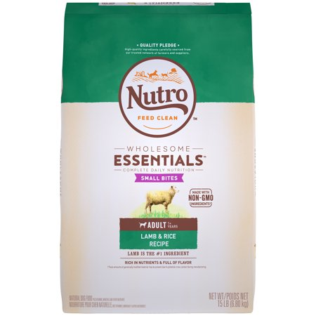 NUTRO WHOLESOME ESSENTIALS Natural Adult Dry Dog Food Small Bites Lamb & Rice Recipe, 15 lb.