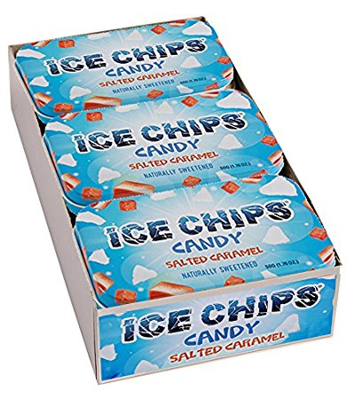 ICE CHIPS Xylitol Candy, Salted Caramel (6 Tins)